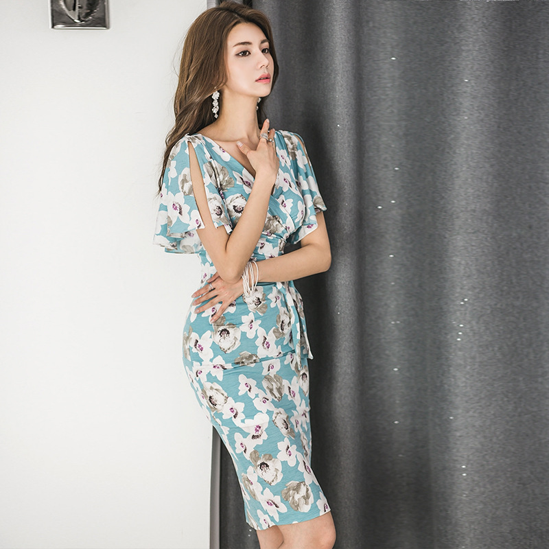 2019 Spring And Summer Korean-style Flounced Sleeves V-neck Bow Printed Elegant Waist Hugging Sheath Dress Medium Length