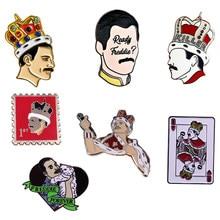 Freddie mercúrio a banda de rock rainha amantes da música esmalte broche pinos emblema lapela pinos liga metal moda jóias