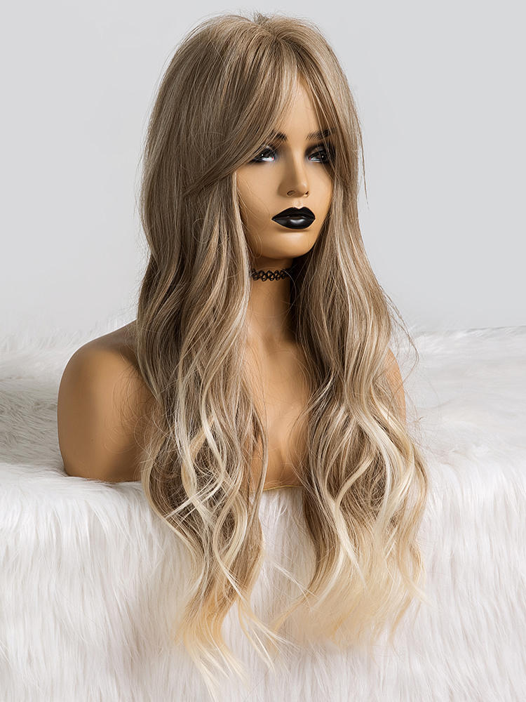 Wavy Wig Light-Ash Blonde Cosplay Brown Party Alan Eaton Long-Ombre Women Temperature-Fibre
