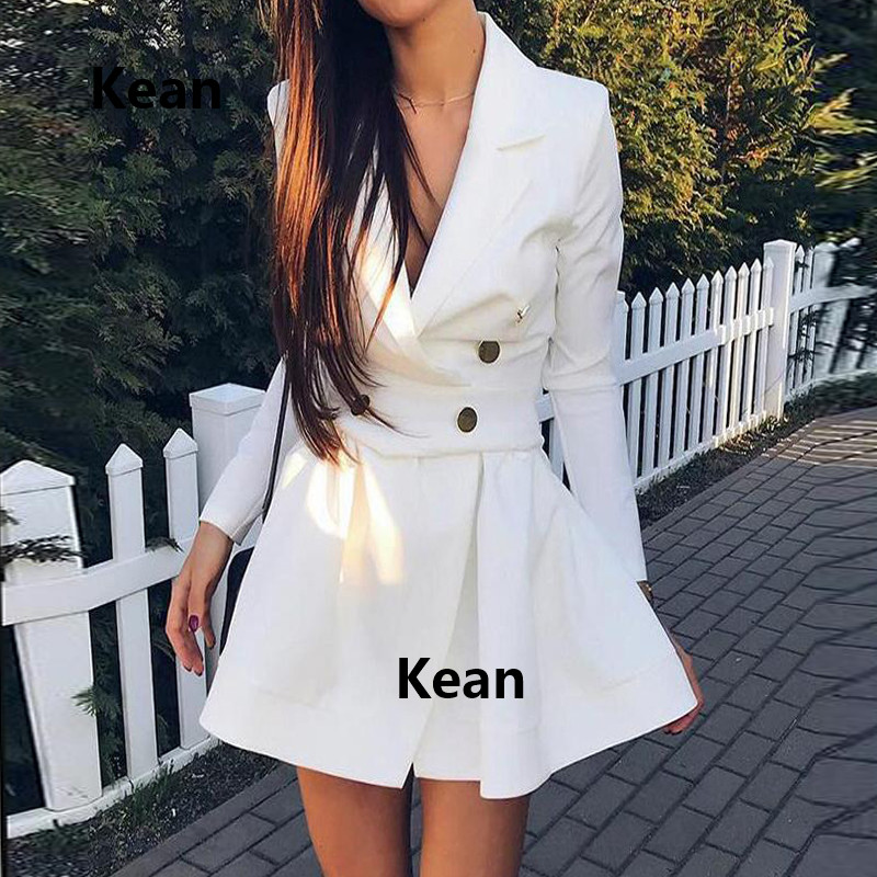 Real Photo Suit Collar Cocktail Dresses Satin Full Sleeve Button Elegant Short Party Dress Homecoming Dresses Lapel Collar