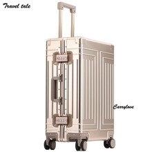Conto de viagem 1809 alumínio mala viagem difícil trolly caso nova bagagem alumínio 20