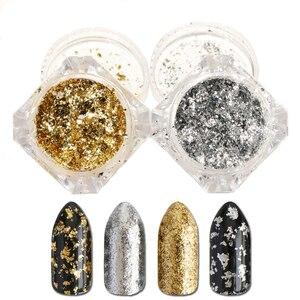 1 Box Silver Gold Holographic Laser Nail Art Glitter Powder Dust Tips Flakes Shining Aluminum Sequins Tips Decoration JICB01-02