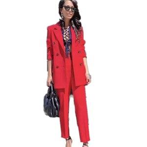 Image 2 - MVGIRLRU ofis Lady Blazer pantolon takım elbise kadın çentikli yaka düğmeleri ceket ve düz pantolon 2 parça setleri