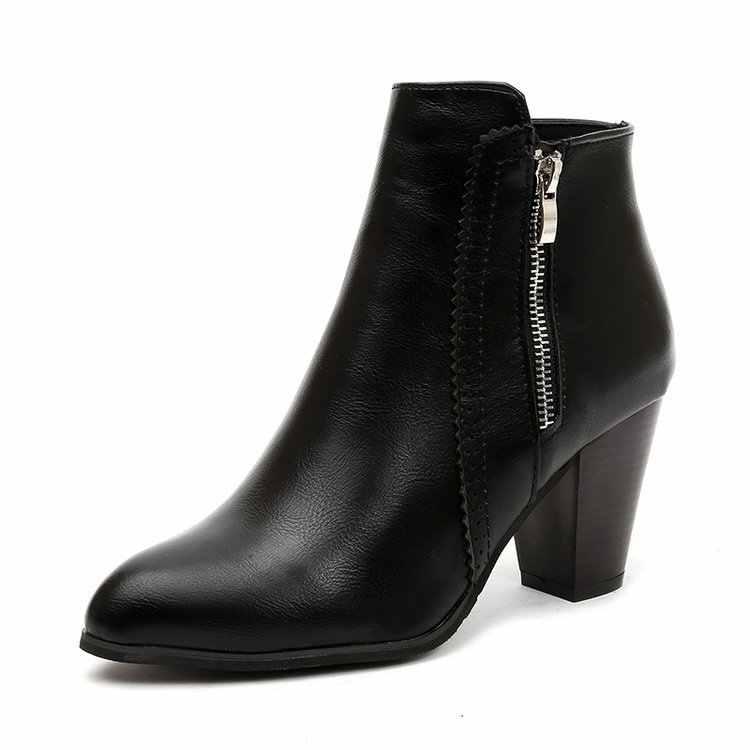 ผู้หญิงซิปรองเท้าข้อเท้าคริสตัลชี้ Toe ฤดูใบไม้ร่วงสุภาพสตรีสแควร์รองเท้าส้นสูงแฟชั่นหญิงแพลตฟอร์มรองเท้า