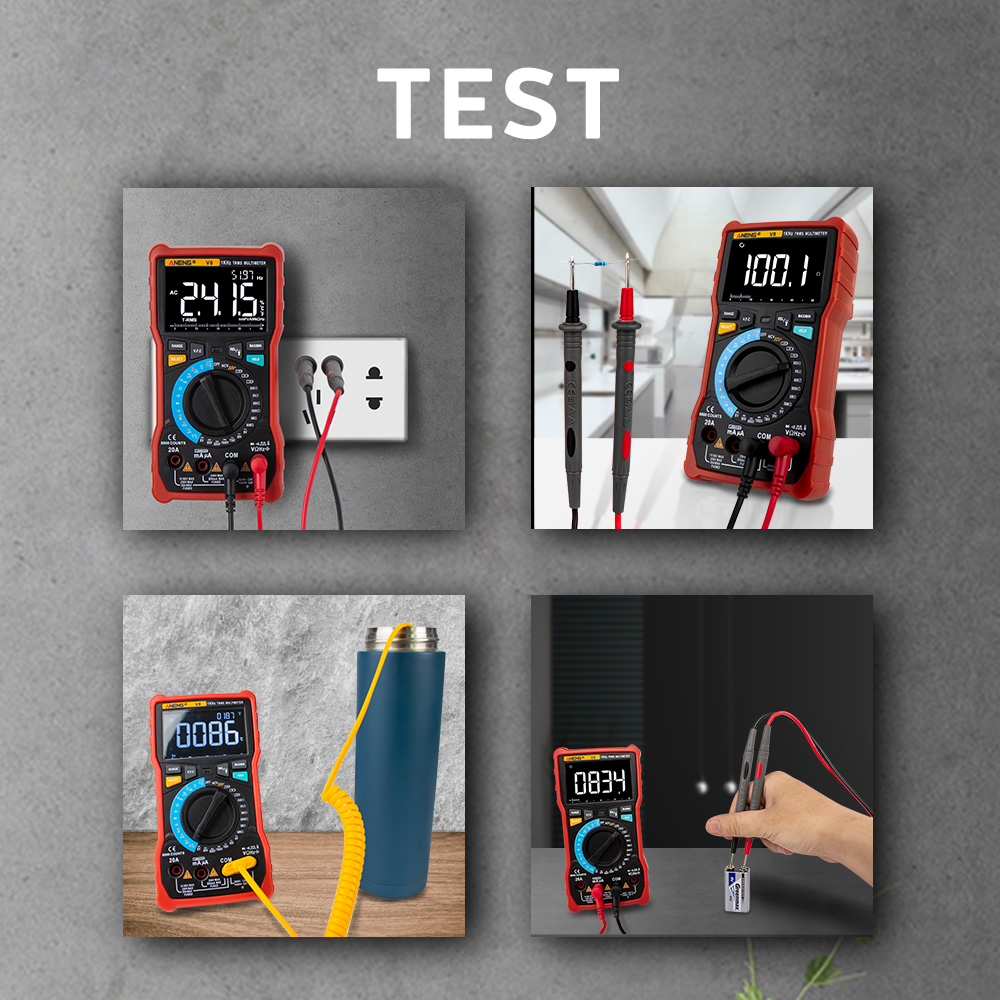 Tools : ANENG V8 Digital Multimeter Profesional True RMS 8000 Counts Transistor Tester Analog Transistor Display Electrical DC AC Meter