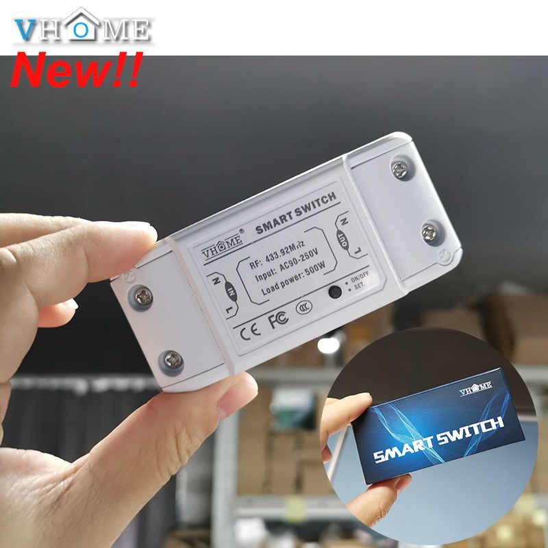 Controlador de interruptor inalámbrico Vhome interruptor de luz de Control remoto inteligente transmisor pequeño RF 433MHZ AC 220V 5A para hogar inteligente