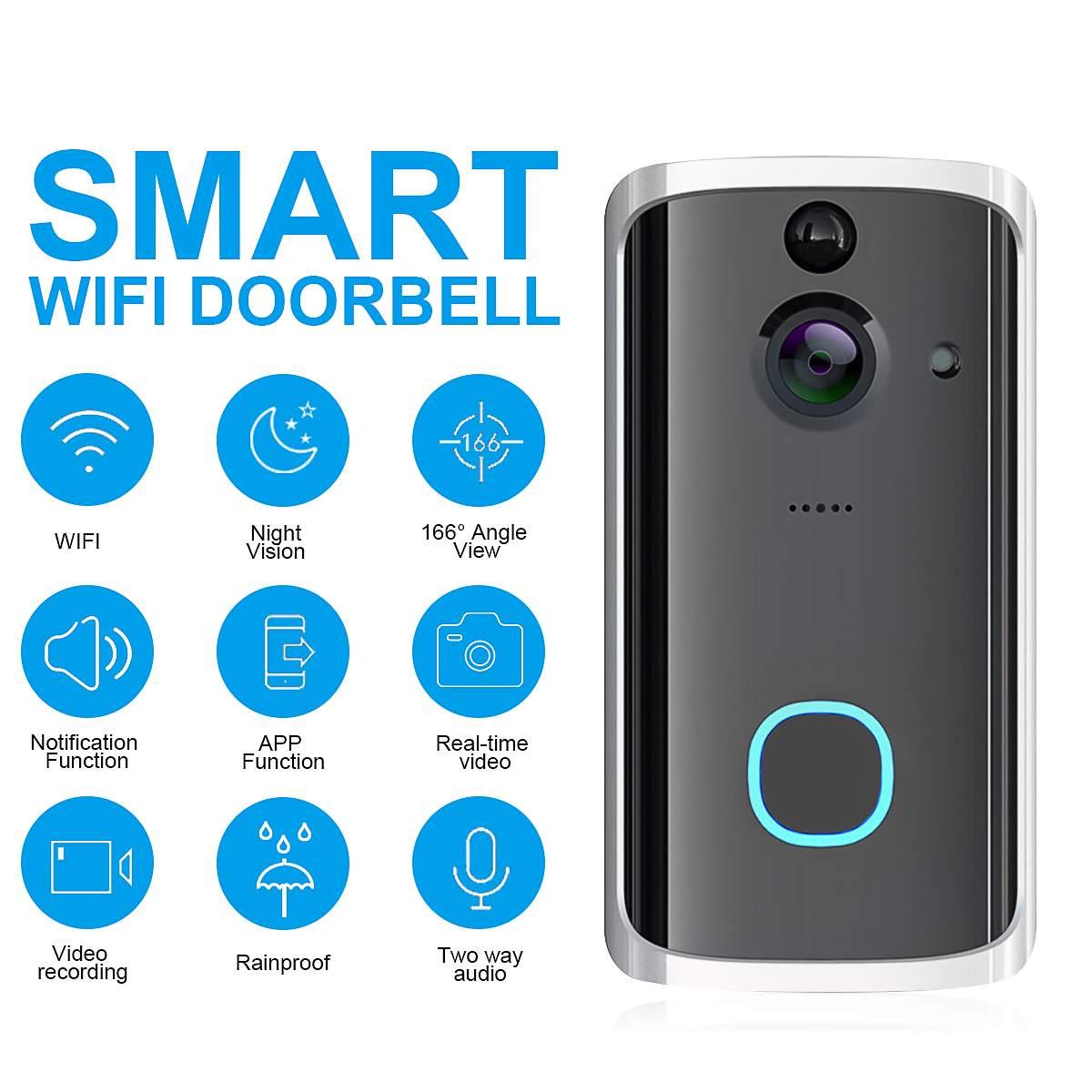 720P Wireless WiFi Video Doorbell Camera Two-Way Voice Intercom Door Phone Camera Record Picture Video APP Security Waterproof