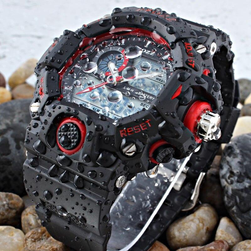 EPOZZ Male Digital Sports Watch Men G Style Rubber Strap Waterproof Shock Resistant Watch Big Dial Alarm Relogio Masculino