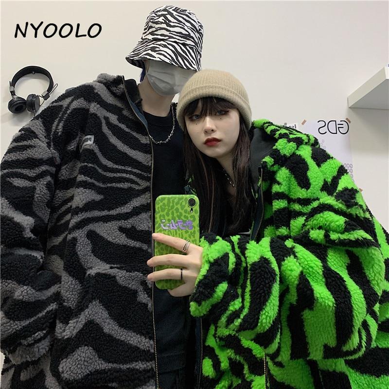 H5d8a86ed18394ba1a162d9bfa17b5521F NYOOLO 2020 Winter Streetwear Zebra Pattern Lamb Woolen Thicken Warm Zipper Hooded Padded Coats Women Men Harajuku Loose Outwear