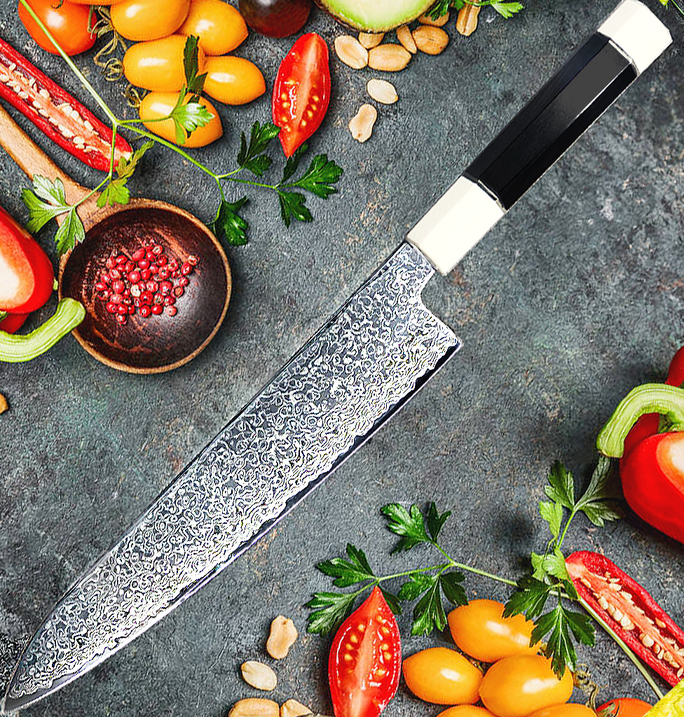 Damascus steel VG10 Chef Knife Gyuto cooking tool meet cleaver japanese Kitchen Knives  set Ebony Handle sharp