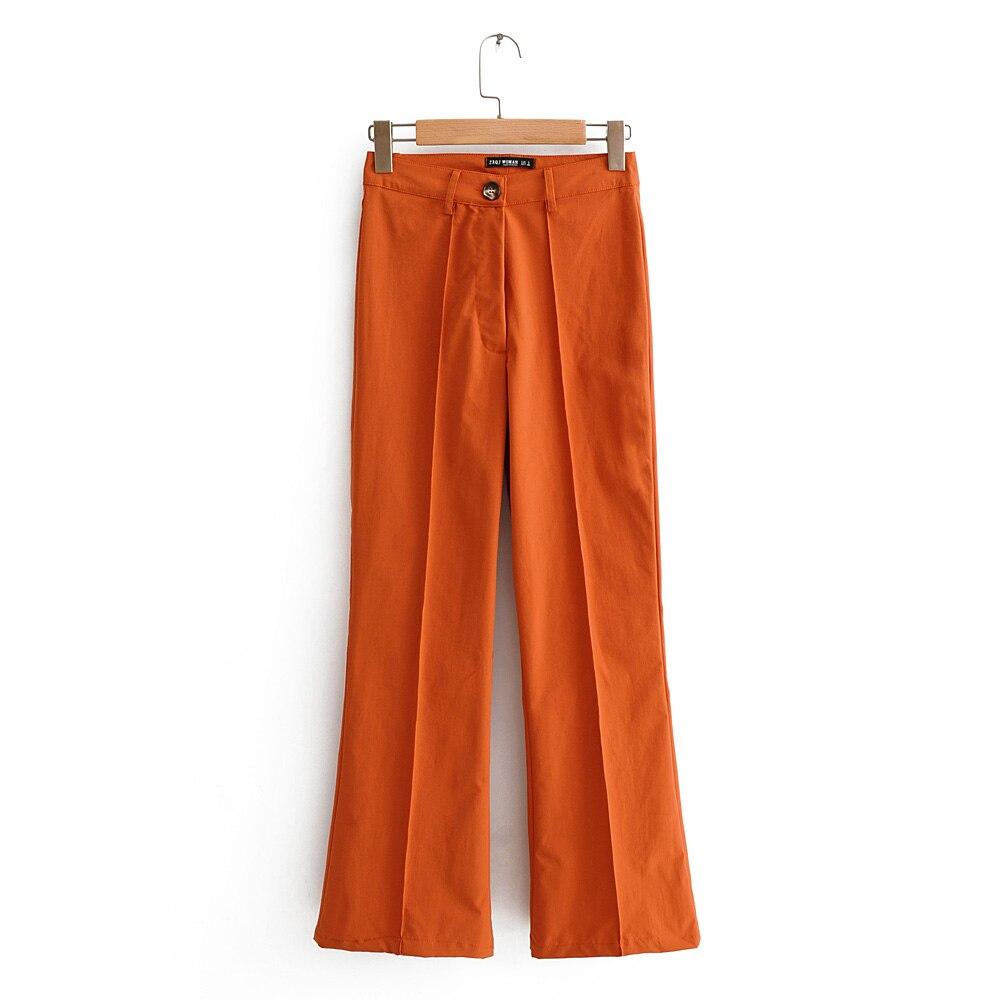 Pantalones Anaranjados Elegantes Y Elegantes Para Mujer Ropa De Oficina Largos A La Moda Con Botones Pantalones Y Pantalones Capri Aliexpress