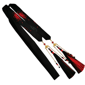 Image 5 - Ancient style other flower headband Hanfu embroidery hair rope men and women wiping ancient costume tassel hair accessories
