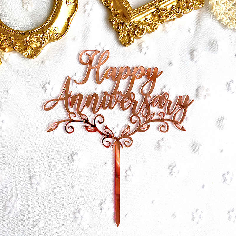 Happy 10th Anniversary Wedding Cake Topper Acrylic Rose Gold Silver Mirror