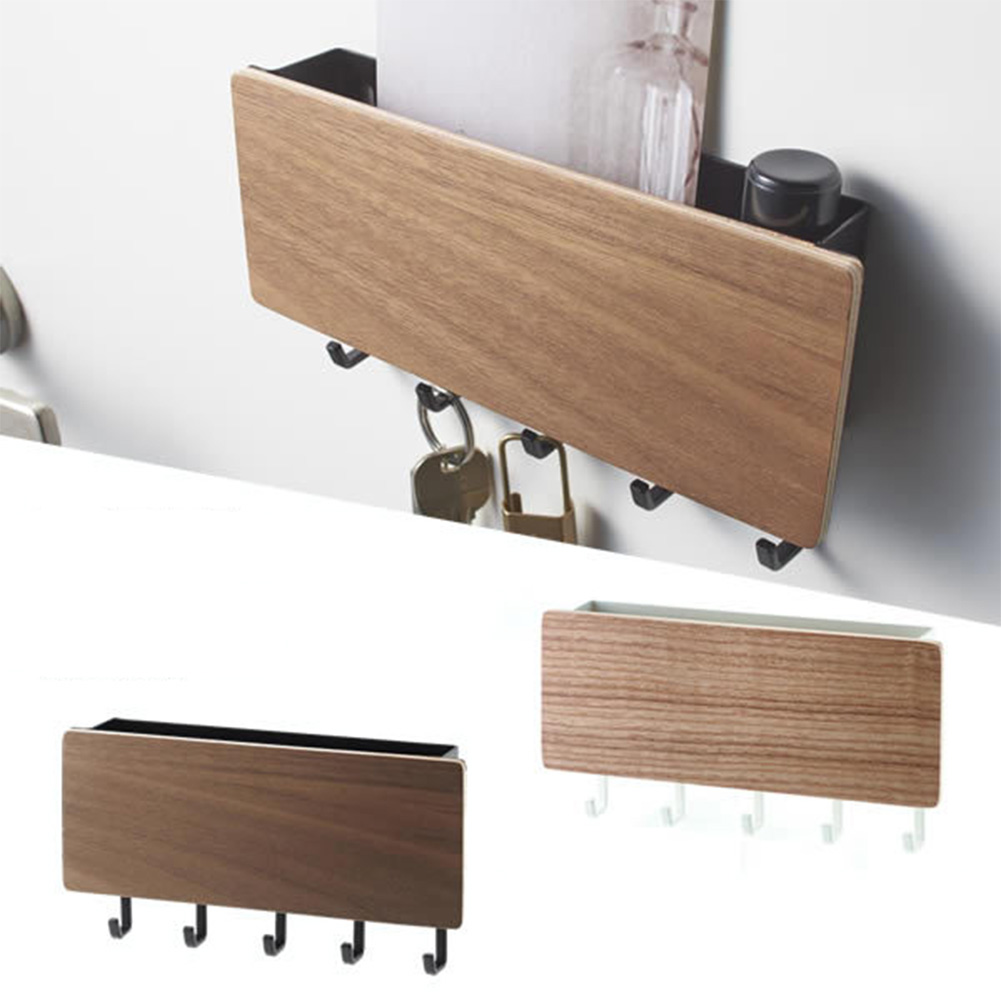 Key Hanger Decorative Simple Small Wall Hook Space Saving Easy Install Home Vintage Wooden Door Back Storage Rack(China)