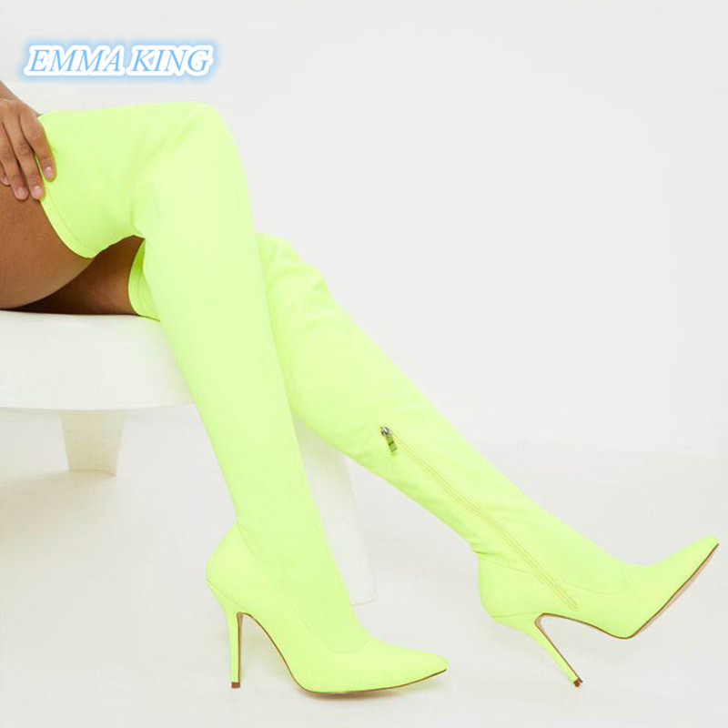 2019 Autumn Fashion Neon Green Stretch Over Knee Boots Women Pointed Toe Stilettos Thigh High Boots Side Zip High Heel Long Boot