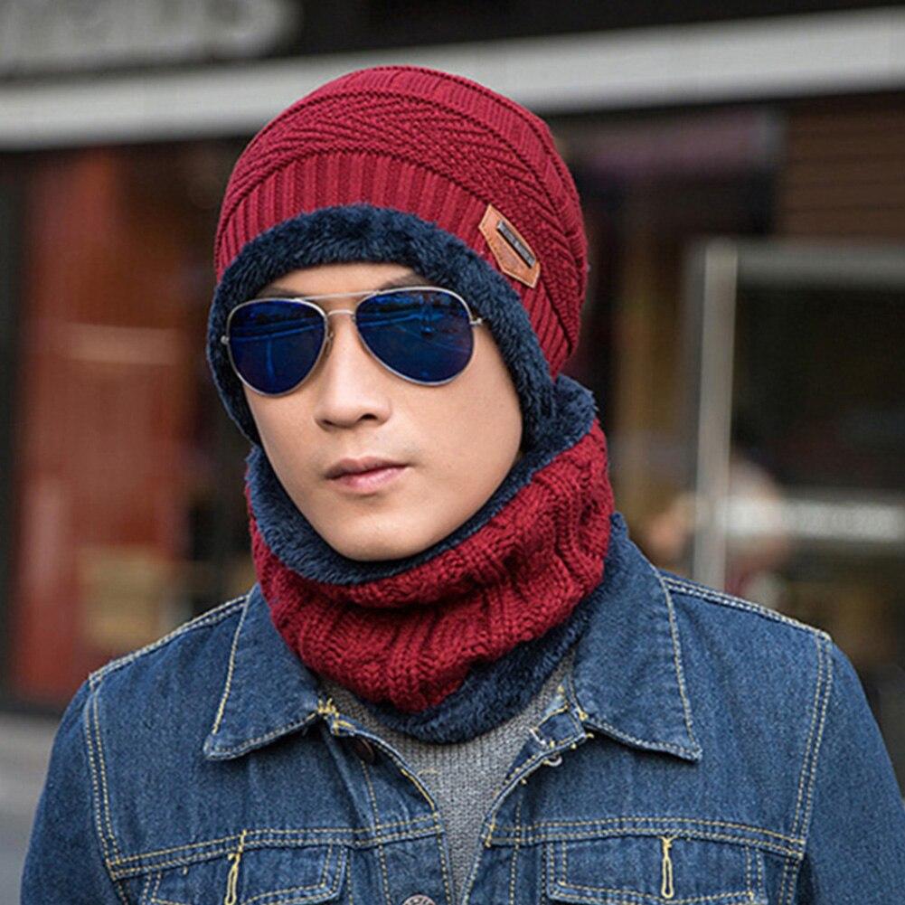 Men Autumn Winter Multifunction Outdoor Soft Hat Scarf Set Keep Warm Elastic Fashion Two Piece Knitting Wool Camping Hiking Ski