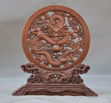 wedding decoration Old Chinese Boxwood wood Hand carved Auspicious Dragon bird Screen Byobu Statue