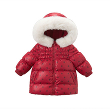 цена Baby Girls Duck Down Jacket Velevt Christmas Red Coat Fur Collar Hooded Kids Jackets And Coats Winter Children Warm Outerwear онлайн в 2017 году