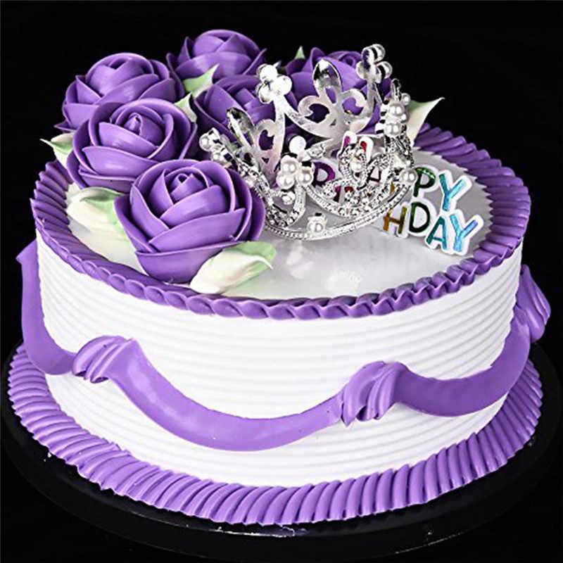 Mini korona ciasto Topper kryształ Pearl Tiara ozdoby do włosów dla dzieci na ślub akcesoria do dekoracji tortu urodzinowego
