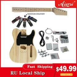 Aiersi Tele Style solide bricolage Kits de guitare électrique inachevé TL ensemble de guitare pièces complètes modèle EK-002 avec cahier d'instructions
