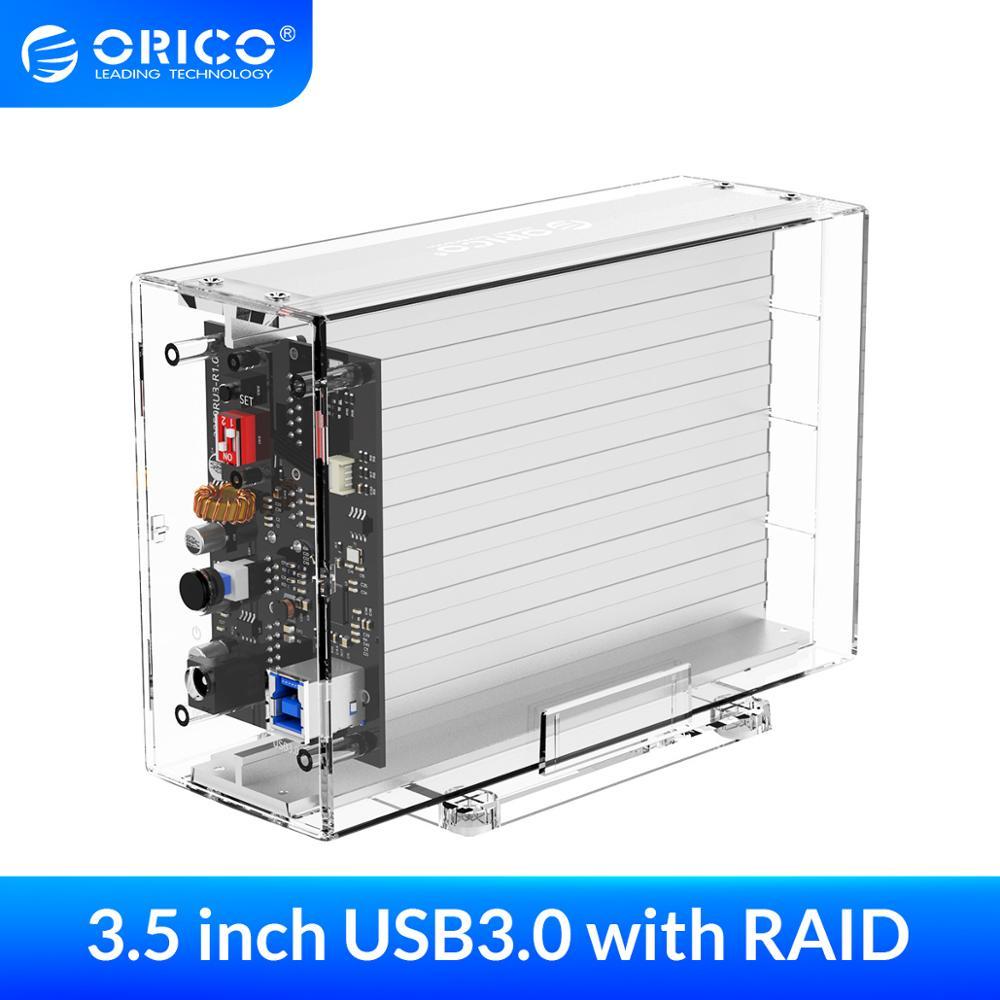 ORICO – double boîtier pour disque dur 3.5 pouces, avec fonction Raid, SATA vers USB 3.0, Transparent, Support de Station d'accueil, 6Gbps, UASP, 24 to