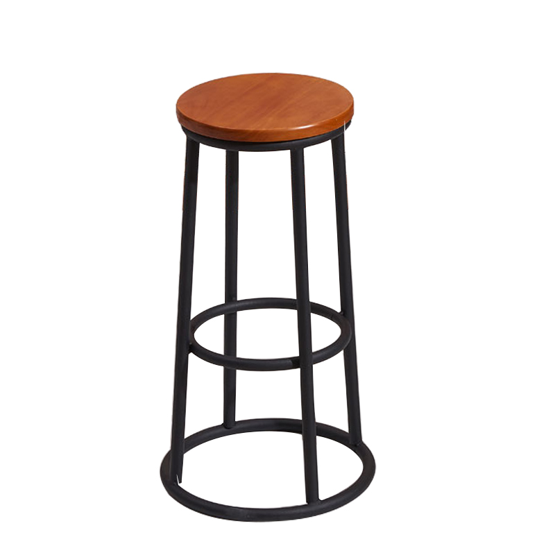 Loft Industrial Style Wrought Iron Solid Wood Dining Chair High Stool Bar Restaurant Cafe Lounge