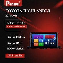 Dvd do carro de android para toyota highlander (2015-2019) rádio do carro reprodutor de vídeo multimídia navegação gps android 10.0 duplo ruído