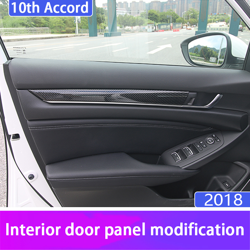 Car shape carbon fiber ABS interior door side frame decorative sticker cover interior for <font><b>Honda</b></font> <font><b>Accord</b></font> 10th <font><b>2018</b></font> <font><b>Accessories</b></font> image