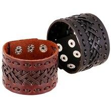Men Women Punk Bracelet Wide Leather Handmade Braid Wrap Bangle Bracelet Brown Black Color Fashion Jewelry Men Bracelets jiayiqi fashion men leather bracelets black brown color bracelets