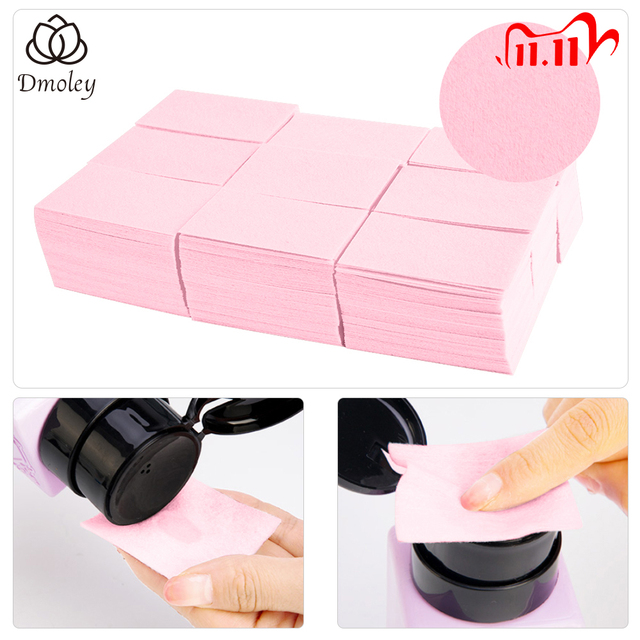 Dmoley 1Pack Lint Free Wipes Napkins Nail Polish Remover Gel Nail Wipes Nail Cutton Pads Manicure Pedicure Gel Tools