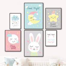 Wall Art Canvas Painting Star Moon Cloud Rabbit Cartoon Nordic Posters And Prints Pictures For Kids Room Girl Bedroom Decor