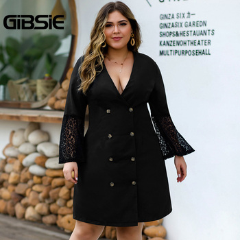 GIBSIE Sexy V-neck Double Breasted Blazer Dress Women Plus Size Lace Patchwork Flare Long Sleeve Autumn Office Lady A-Line Dress