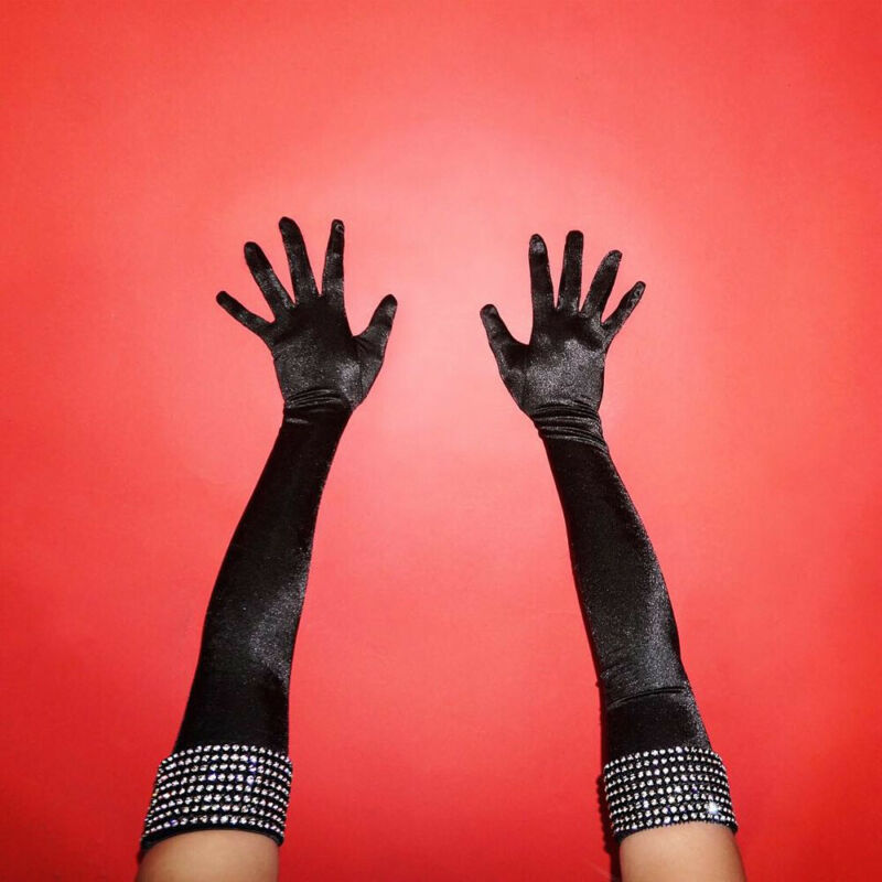 HIRIGIN 1Pair Women Velvet Gloves Opera Elbow Long Elastic Stretchy Velours Flannel Black New Lady Evening Party Ball Gloves