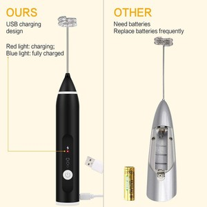 3-Speeds Egg Beater Coffee Milk Drink Whisk Mixer Heads Eggbeater Frother Stirrer USB Rechargeable Handheld Food Blender Tool