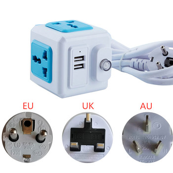EU UK AU Plug USB Multi Universal Powercube USB Outlets Extender Electrical Cord Socket Network Filter for Smartphones Tablets image