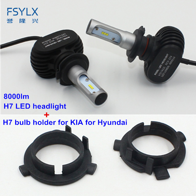 FSYLX Car <font><b>H7</b></font> <font><b>LED</b></font> Headlight with bulb <font><b>adapter</b></font> clip retainer for KIA K3 Sportage Santa Fe <font><b>Outlander</b></font> <font><b>H7</b></font> Headlights headlamps <font><b>H7</b></font> image