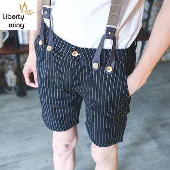 New Fashion Mens British Suspender Trousers For Man Slim Fit Striped Plaids Casual Pirate Shorts Size 27-36 Free Shipping 1