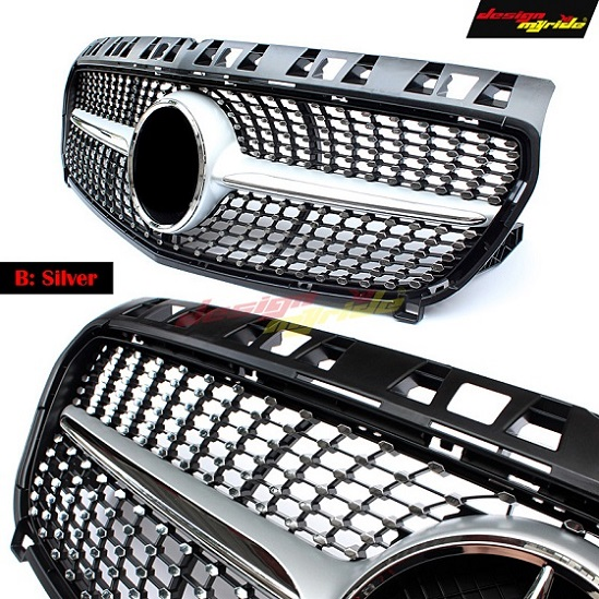 W176 Diamond Front Grill Grille ABS Silver for Mercedes Benz A Class A180 A200 A250 grilles 16-in No central sign