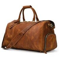 MAHEU XL Große Größe Leder Reisetasche 100% Echtem Leder Reisen Handtasche Funktion Crazy Horse Leder Duffle Tasche Für Mann