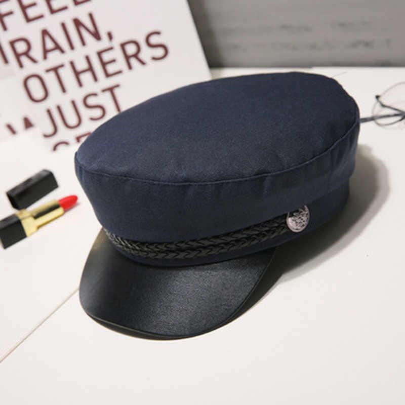Unisex Thời Trang Da PU Quân Đội Nón Mùa Thu Thủy Thủ Mũ Nam Nữ Đen Xám Đầu Dẹt Nữ Du Lịch Thiếu Sinh Quân Nón Đội Trưởng mũ Lưỡi Trai