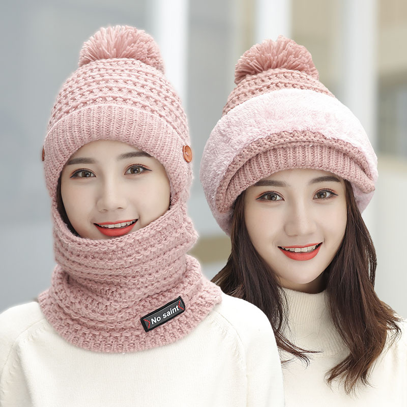 New Windproof Beanies Hat Women Cover Face Warm Knit Hats With Bib Female Winter Padded Mask Neck Protector Cycling Wool Caps