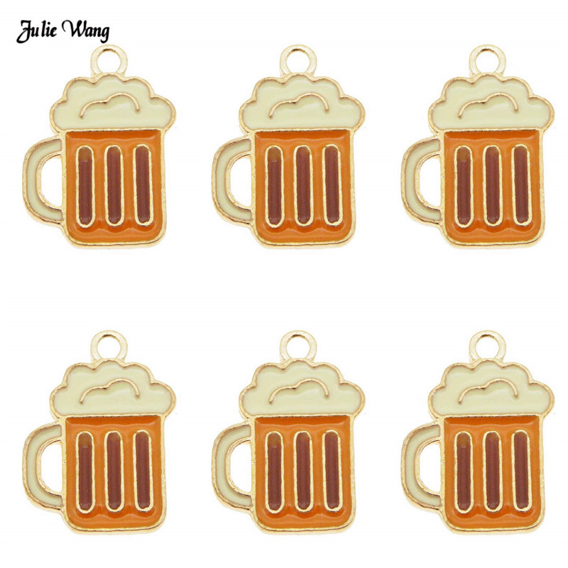 Julie Wang 10pcs Fashion Alloy Enamel Wine Cup Beer Mug Charms For Women Bracelet Earrings Pendant DIY Accessory 19*14mm