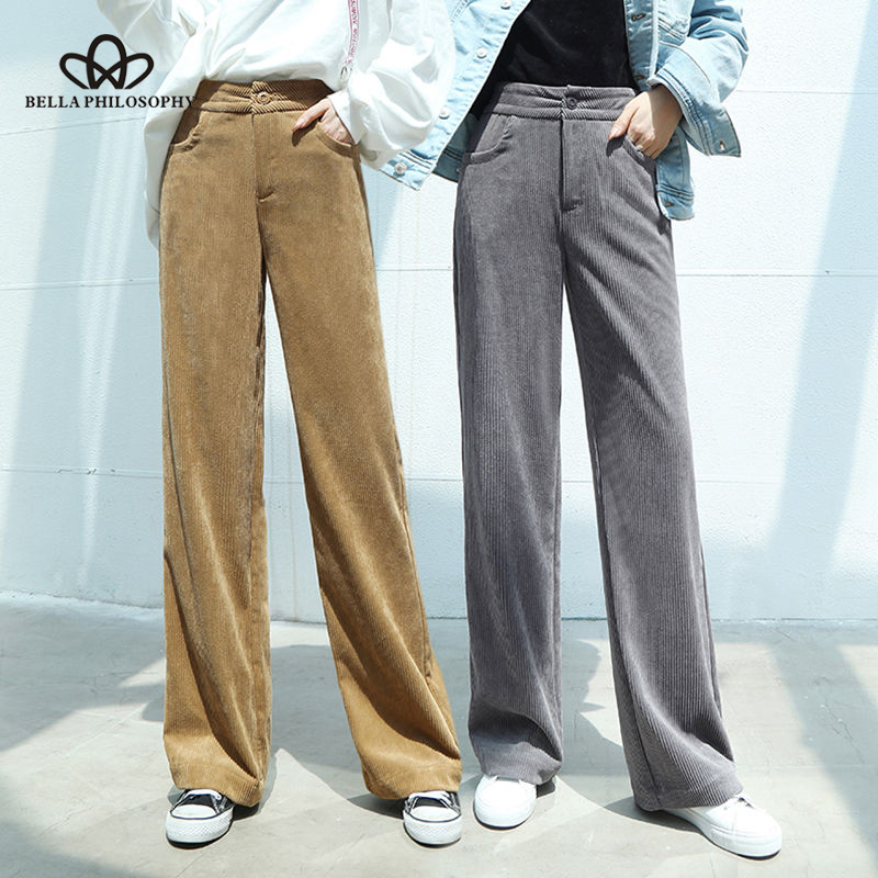 Bella Philosophy 2019 Autumn Women Solid Wide Leg Pants Ladies Casual Corduroy Elegant Pants Female High Waist Loose Leggings