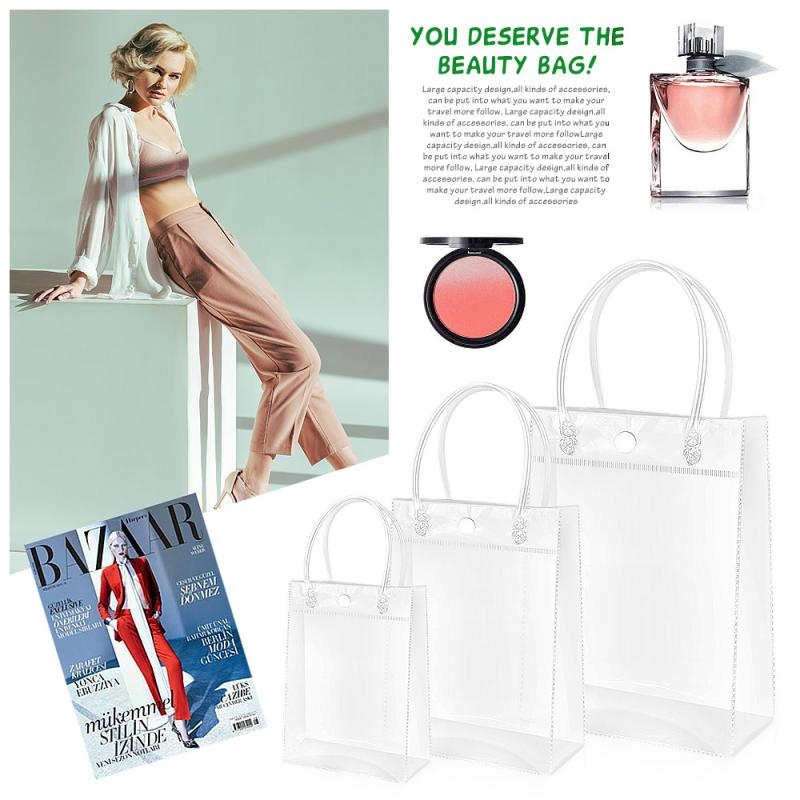 1PC Transparent PVC Handbag Christmas <font><b>Gift</b></font> Packaging <font><b>Bags</b></font> <font><b>With</b></font> <font><b>Handles</b></font> Shopping Travel Clear Tote Jelly <font><b>Bag</b></font> Shoulder Makeup <font><b>Bags</b></font> image