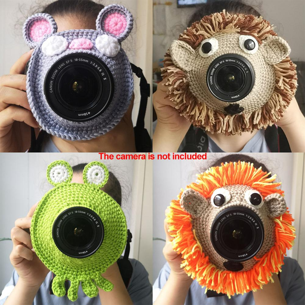 Child Knitted Lens Accessory Posing Shutter Hugger Lion Camera Toys Teaser Toy Photography Props Buddies Handmade Kid Pet