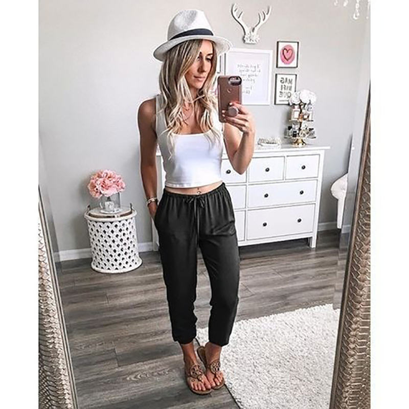 2019 Women Fashion Low-Waisted Pants Casual Loose Nine-Point Pants Solid Color Laced Pants