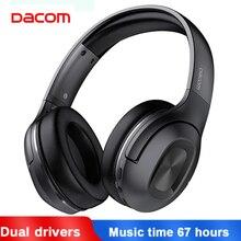 Dacom hf002 헤드폰 블루투스 이어폰 무선 헤드폰 이어폰 헤드셋 5.0 67hrs 헤드 폰 (마이크 포함) 컴퓨터