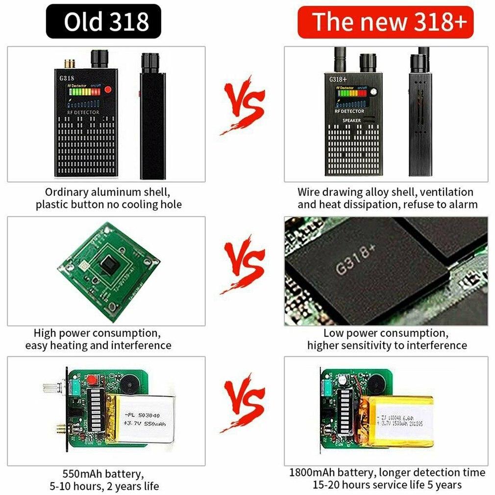 G318+ Anti-Spy Amplification Signal Detector RF Spy Bug GPS Tracker Finder Tracer Finder 2G 3G 4G Detector