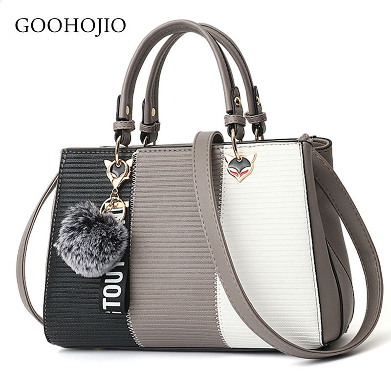 GOOHOJIO Women Hairball Ornaments Totes Patchwork Handbag Party Purse Ladies Messenger Crossbody Shoulder Bags Women Handbags