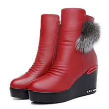 цена на New Fashion Women Winter Slope Heel Martin Boots Short Plush Warm Women Boots Leather Platform Boots High Heels Shoes 2-39